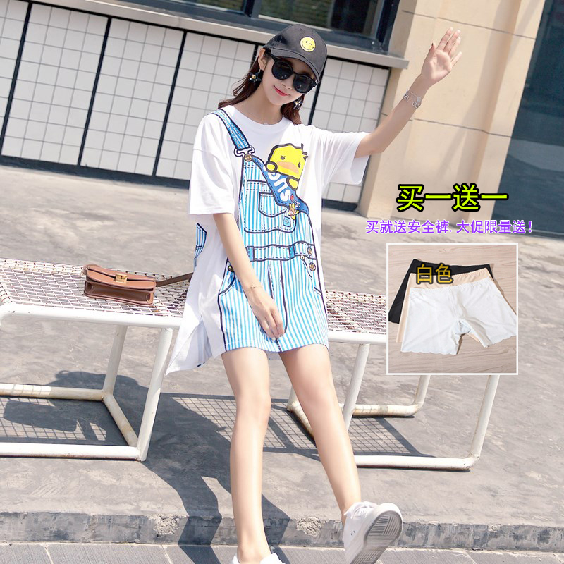 2019新款韩版宽松中长款短袖背带印花白色t恤女装包臀连衣裙潮牌T