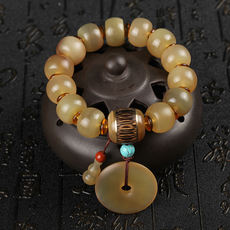 Natural Tibetan horns bracelets heat and cool cool with gold silk bamboo horns safe buckle beads bracelet men and women