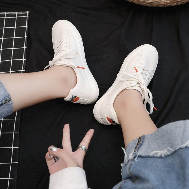 原宿ulzzang秋季新款菠萝小白鞋女学生韩版帆布鞋基础休闲鞋板鞋