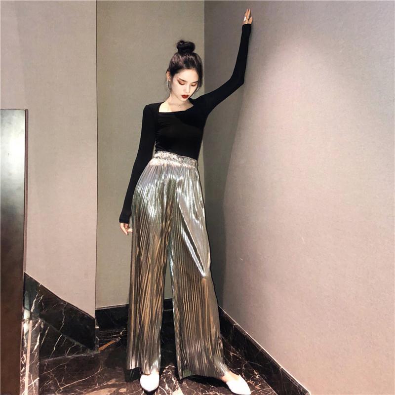 秋季新款复古风修身显瘦前后两穿打底长袖T恤+高腰百褶银色阔腿裤