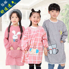 Children's smocks, girls, boys, cotton, baby, aprons, anti-dressing, long-sleeved, waterproof, eating, breathable