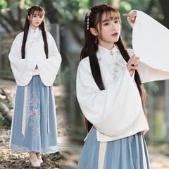 2018春季新款原创绣花传统班服表演团队汉服女装日常立领斜襟袄裙