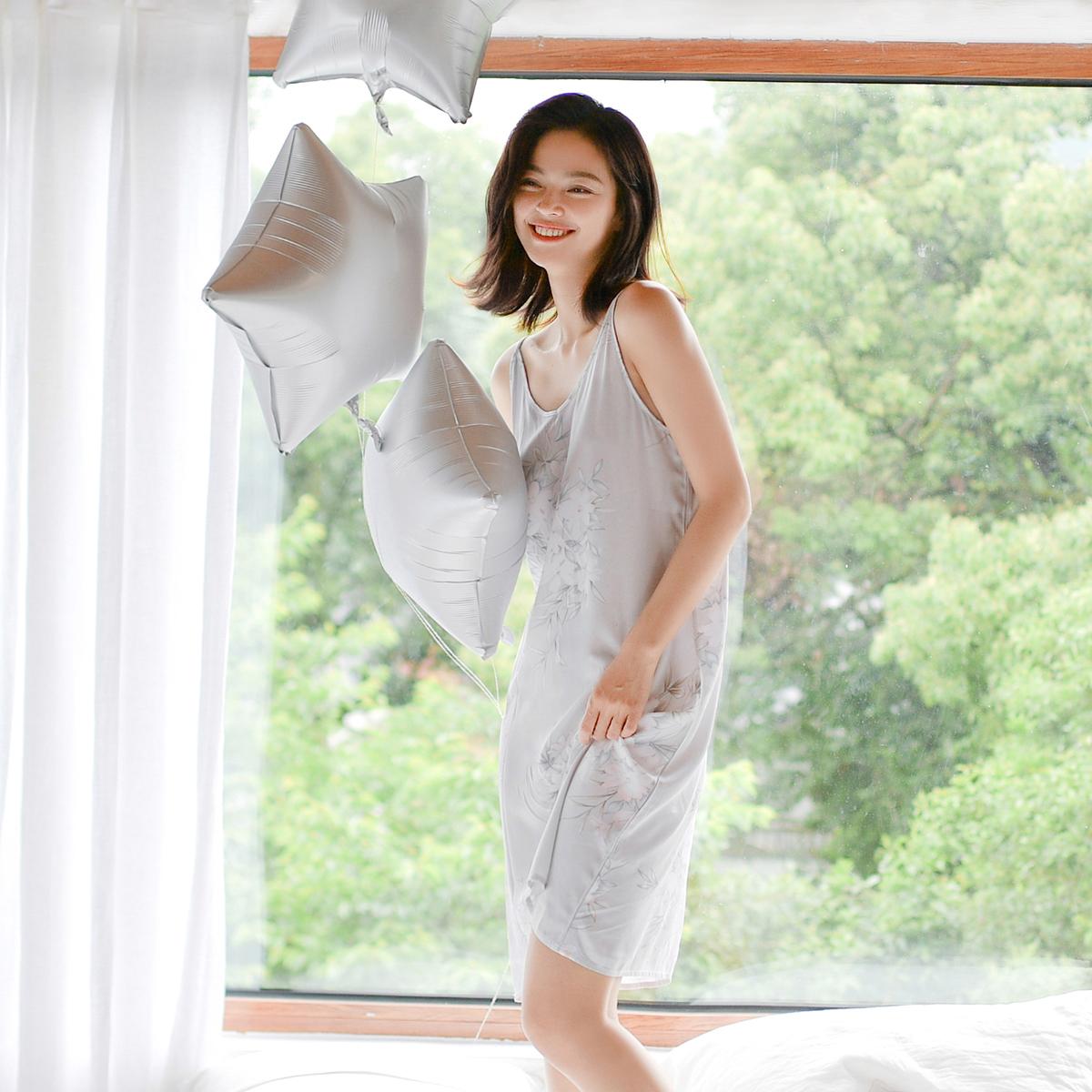 无袖睡裙女士睡衣夏季吊带背心裙美背性感可外穿超薄款冰丝感长款