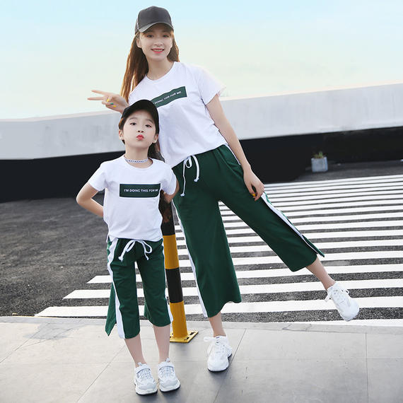 Parent-child wear mother and daughter family three summer dress 2018 new wave Korean short-sleeved T-shirt family spring suit
