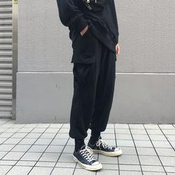 方寸先生秋季休闲裤男工装裤黑色宽松九分束脚裤男装裤子韩版潮流