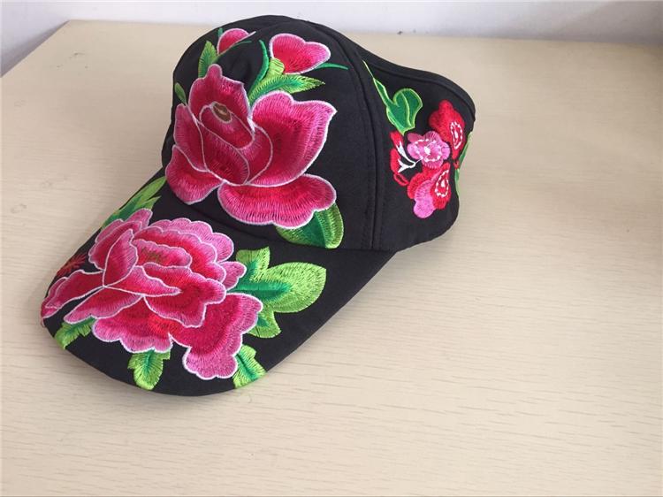 包邮民族风女半顶遮阳帽可调节度假旅游休闲帽子牡丹刺绣花鸭舌帽