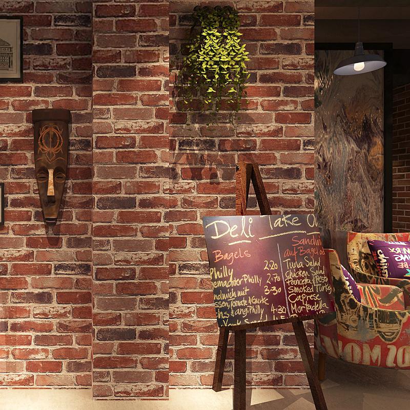 复古怀旧3D立体仿砖纹砖块砖头墙纸咖啡馆酒吧餐厅文化石红砖壁纸