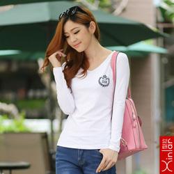 韩版女装长袖t恤显瘦女士打底衫修身体恤2016秋冬新款潮