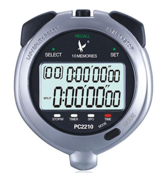 天福PC2210双排10道记忆电子秒表 跑步计时器 时钟