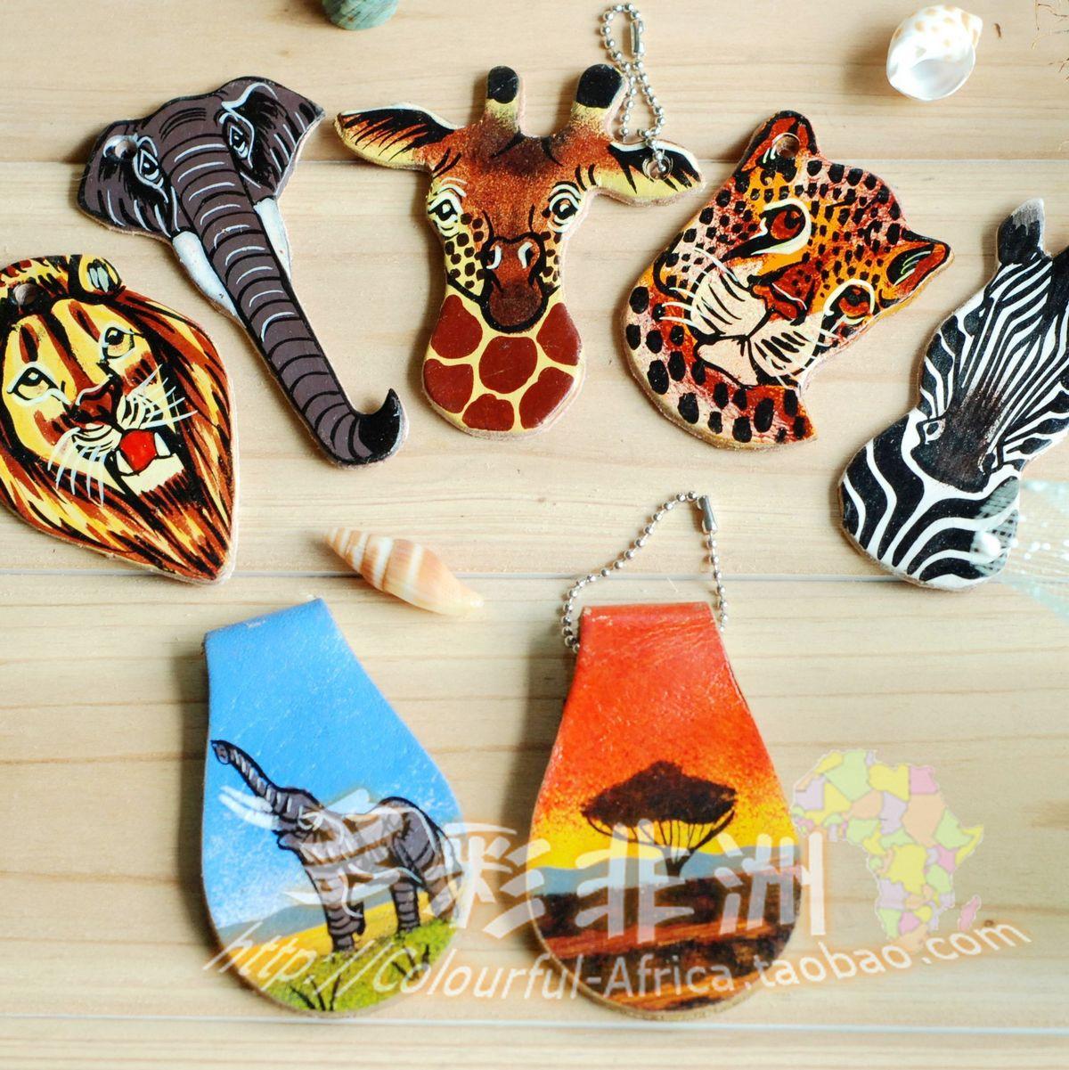多彩非洲-肯尼亚进口特色手工艺品民族饰品-手绘牛皮钥匙扣/链