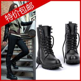 春秋马丁靴女英伦平底军靴短靴中筒机车靴黑色女靴骑士靴大码鞋