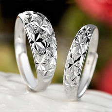 Glittering star couple rings a pair of Japan and South Korea s925 sterling silver simple opening men and women rings not inlaid jewelry
