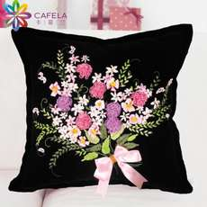 Kafeilan Ribbon Embroidered Pillow Black 3D Cross Stitch Car Pillow New Living Room Bedroom Sofa Cushion Pillow