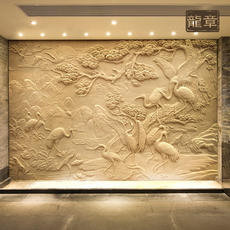Custom sandstone relief wall TV brick glass fiber reinforced copper relief figure animal landscape sculpture dragon chapter