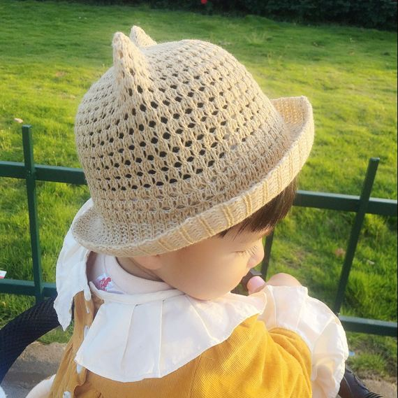 Summer baby net breathable basin cap girls 1-2 years old shade hat baby beach fisherman hat Korean version of the hat 0
