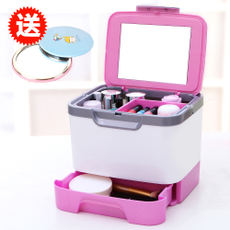 Creative plastic cosmetic storage box Large covered mirror with multi-layer desktop jewelry storage box cosmetic case