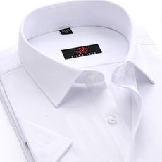 [Daily specials] business dress men's short-sleeved shirt cotton professional decoration body free hot summer pure white