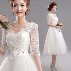 Angel Wedding Dress Sweet Girl Style White Long Sleeve Bride Bridesmaid Short Wedding Dress 9210 Wholesale