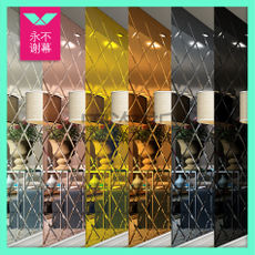 Silver tea powder decorative mirror diamond mirror glass art TV background wall film and television restaurant living room border mirror