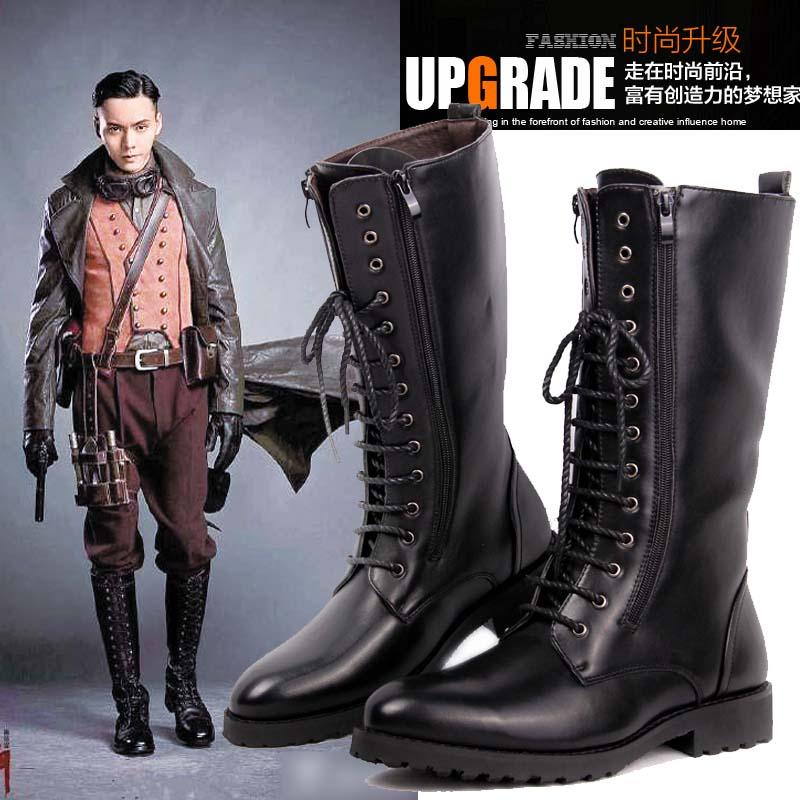 新款高筒男靴马丁靴英伦尖头男士皮靴潮靴牛仔靴时尚长筒系带马靴