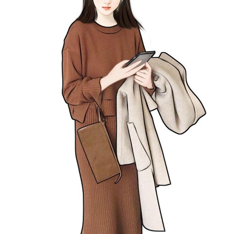 金蘑菇菇 显高炸 矮妹福音分体连衣裙两件套 高腰针织+坑条半裙