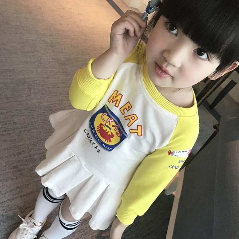 春款女童纯棉连衣裙中小童印花撞色长款卫衣裙2017儿童卡通打底衫