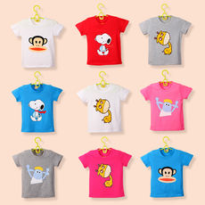 2018 new children's short-sleeved t-shirt cotton t-shirt children's clothing boys and girls baby half-sleeved white shirt Korean version