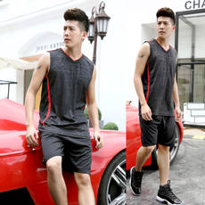 Sleeveless sports suit summer running clothes men summer young men loose large size sweat breathable vest basketball clothes
