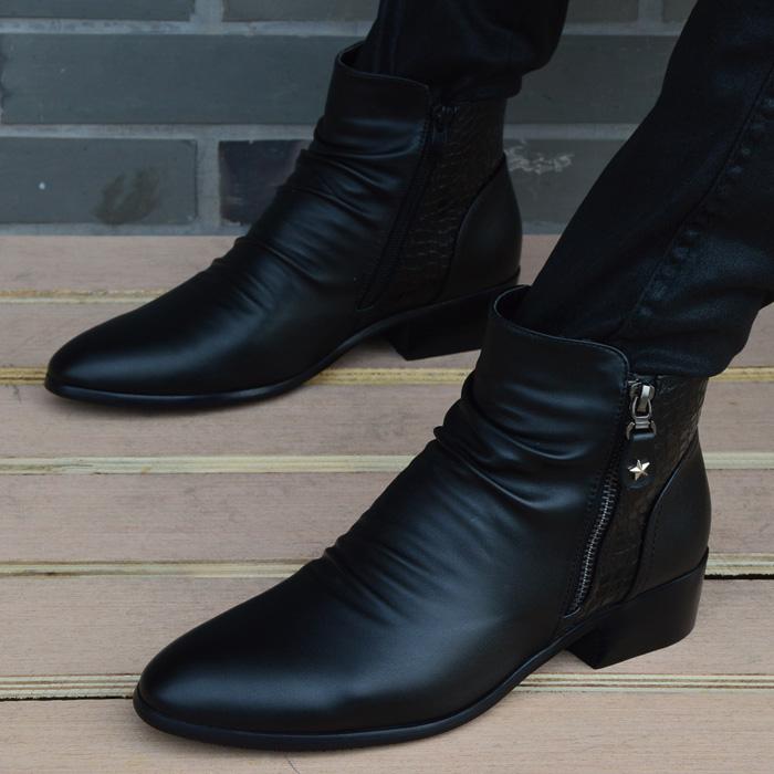 英伦高帮皮鞋男士韩版短靴内增高尖头皮靴时尚男鞋休闲鞋马丁靴男