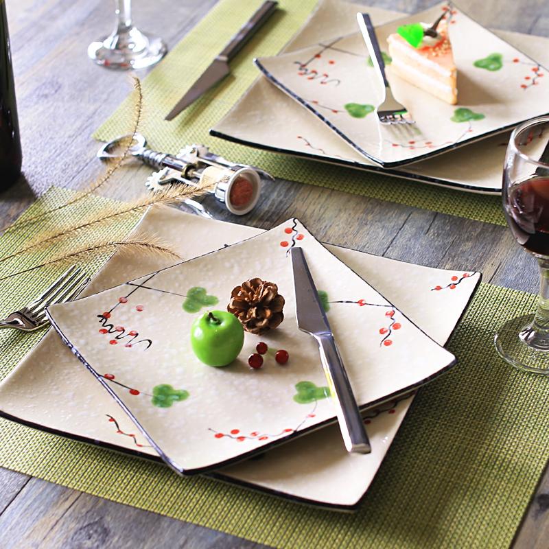 西餐盘子牛排盘平盘10寸家用欧式陶瓷餐具创意圆形方形大盘子酒店