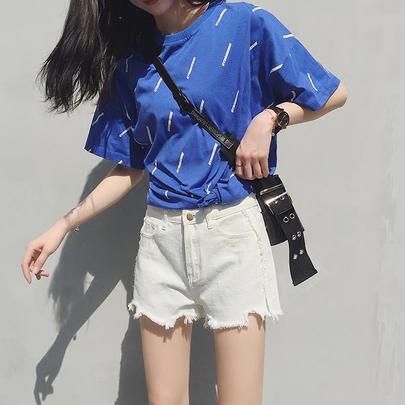 2018新款白色牛仔短裤女夏chic百搭高腰宽松显瘦学生韩版a字热裤