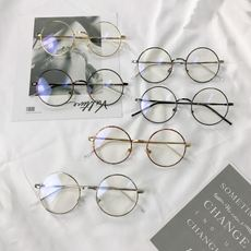 Korea small round frame face small flat mirror metal retro literary glasses frame men and women tide Su Yan artifact