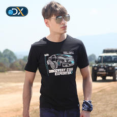 Discovery outdoor spring and summer cotton round neck short-sleeved T-shirt male print stretch DAJF81219