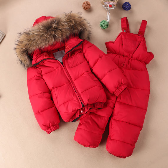 2016 Europe and the United States winter children's clothing children's baby down jacket suit boys and girls scorpion fur collar ski suit bib