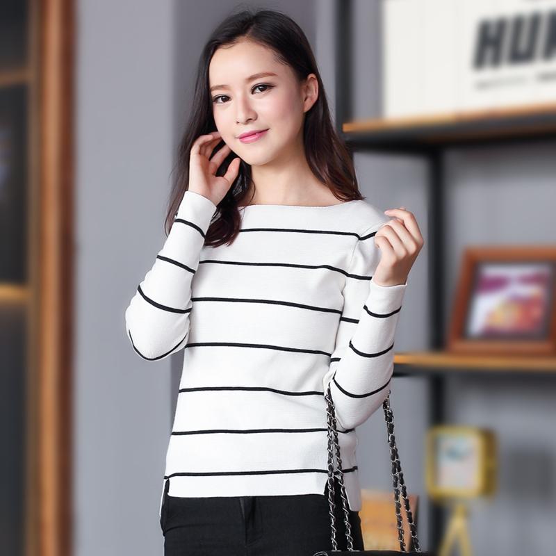 樱思2015秋新品韩版修身一字领打底针织衫