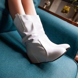 2018春新款单靴子女中靴中跟坡跟韩版女靴平底中筒靴春秋白色女鞋