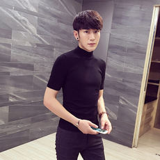 Men's short-sleeved sweater Korean version of the Slim high collar wool sweater youth bottoming shirt autumn sleeve half sleeve tide