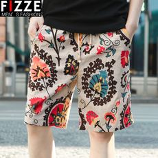 Summer casual shorts men's beach pants loose five pants straight big pants summer pants large size tide 5 points