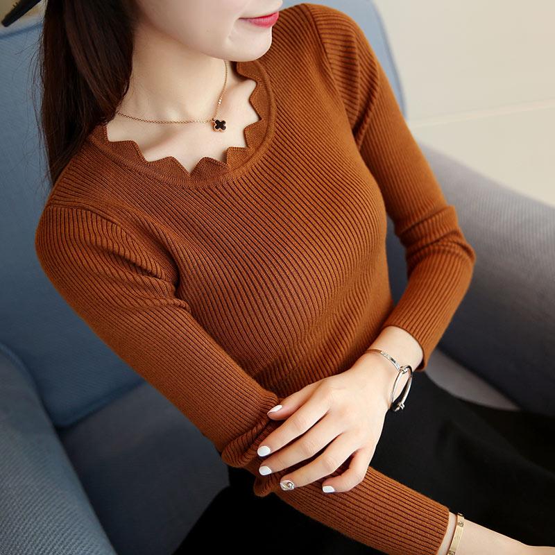 网红毛衣女春装2019新款短款修身打底针织衫韩版套头长袖学生内搭