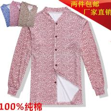 Middle-aged and old ladies cardigan cotton autumn clothes open 襟 line clothes plus fertilizer to increase a single piece of old man to open underwear