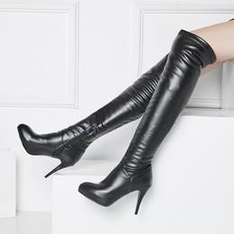 欧美2017性感超高跟过膝长靴子瘦腿弹力皮靴细跟尖头长筒女鞋秋冬