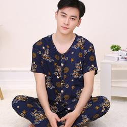 夏季睡衣男士棉绸套装中老年绵绸家居服韩版薄款短袖长裤大码宽松