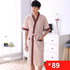 Summer cotton short-sleeved nightgown male loose men oversized pajamas fat 200 pounds plus fertilizer increase bathrobe 5XL