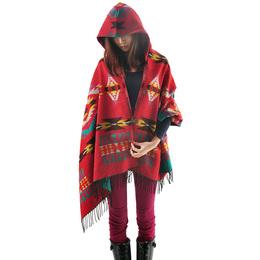 尼泊尔民族风秋冬云南长款斗篷披肩两用加厚连帽波西米亚围巾秋季