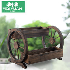 Carbonized anti-corrosion wooden two-layer wheel garden decorative flower stand outdoor balcony flower pot multi-layer indoor household flower
