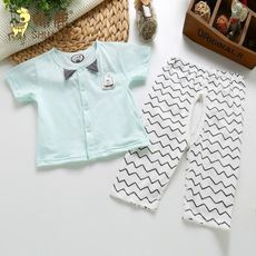 Handsome deer cotton jersey baby child thin short sleeve half sleeve open trousers suit baby air conditioning suit 59-80