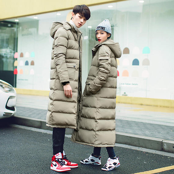 Autumn and winter wear new men's cotton coat lovers Korean casual coat long section over the knee thick cotton jacket coat tide