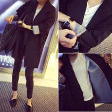 Spring and autumn new Korean fashion temperament wild double-breasted long section long-sleeved casual small suit jacket female tide