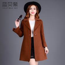 Blue shell purple / Avril children in autumn and winter long double-sided wool coat jacket cashmere coat women Y8107