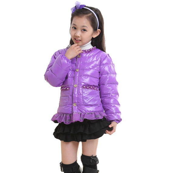 Children's down jacket short winter new girls baby down jacket middle and small children's lace jacket